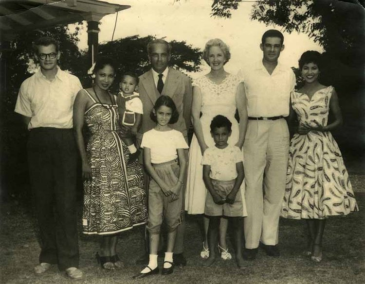 Rachel Manley as a child with family