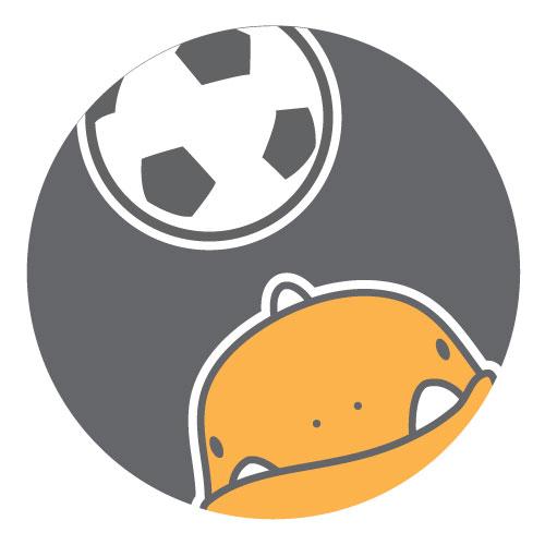 Soccersaurus heads the ball