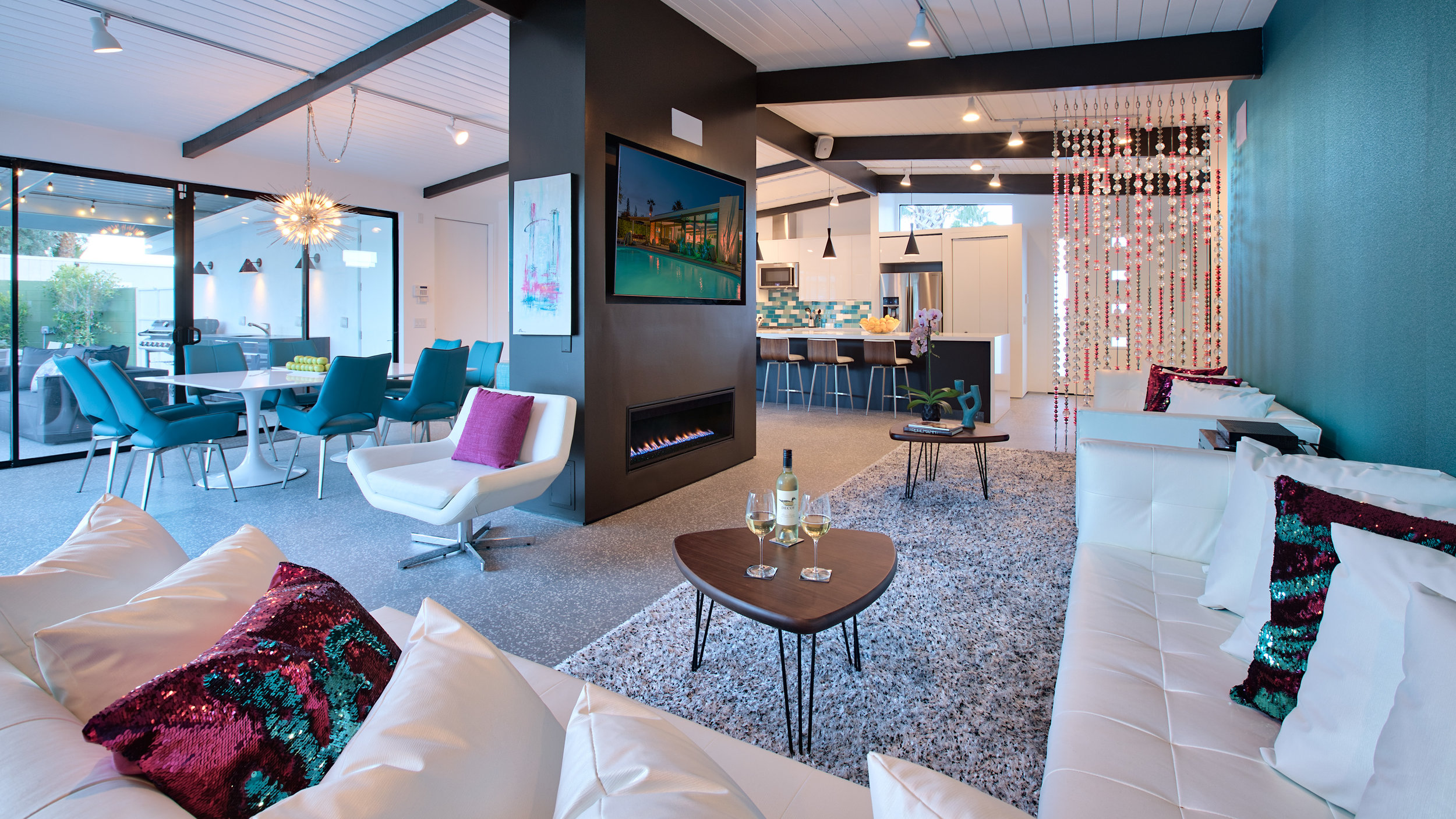 Huge living/dining/kitchen- Open Concept - Mid Century Glamour Design