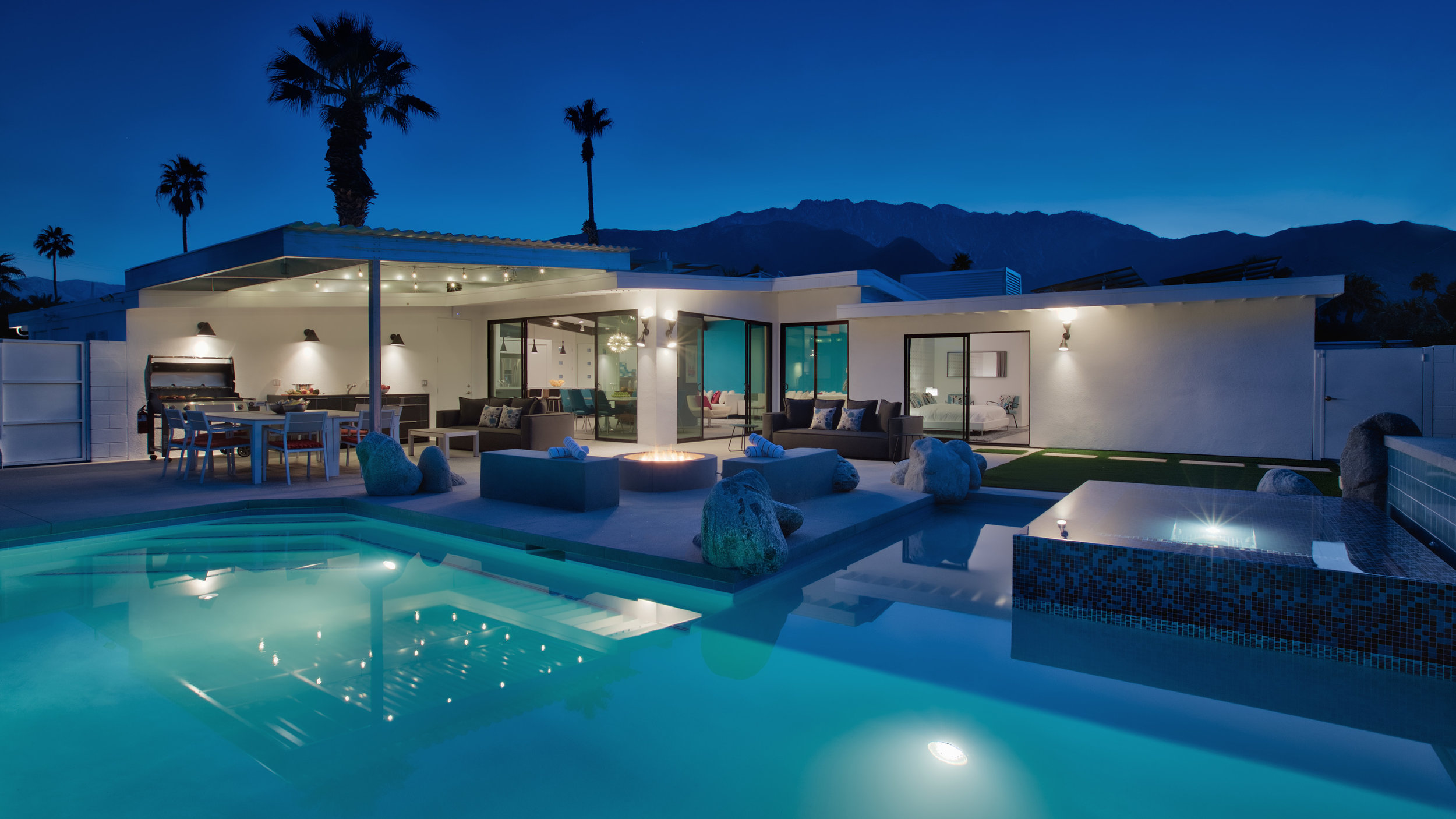 Enjoy the evenings in the covered outdoor lounge, around the firepit, or in the pool and spa.