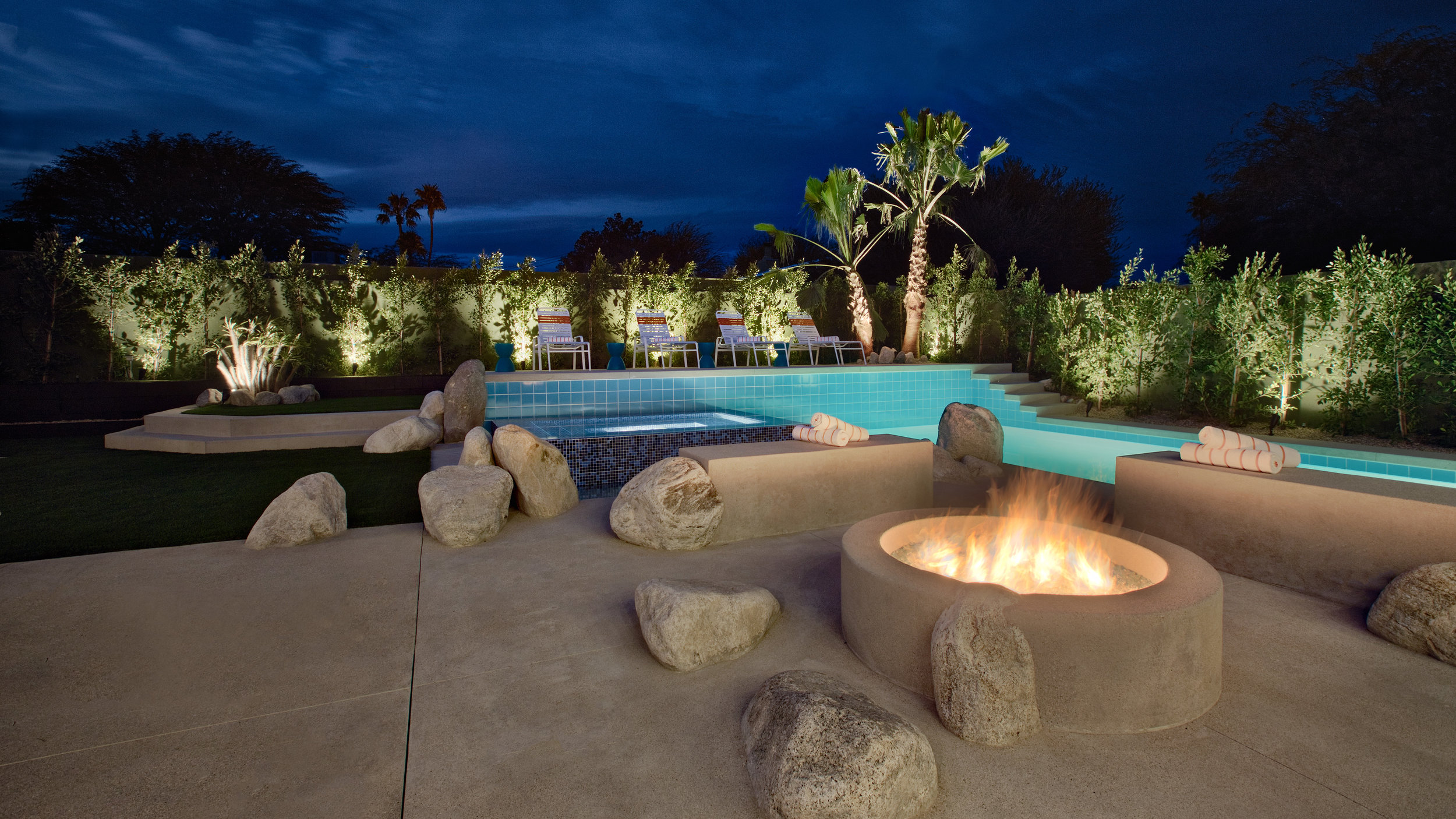 Outdoor fire-pit and conversation area.