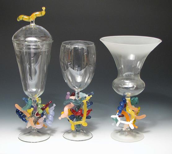 "Trio of Balloon Goblets. Tallest, 14.25"""