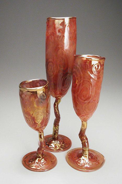 "Red Wabi Goblet Trio; tallest: 11.5"" high x 3.25"" diameter"