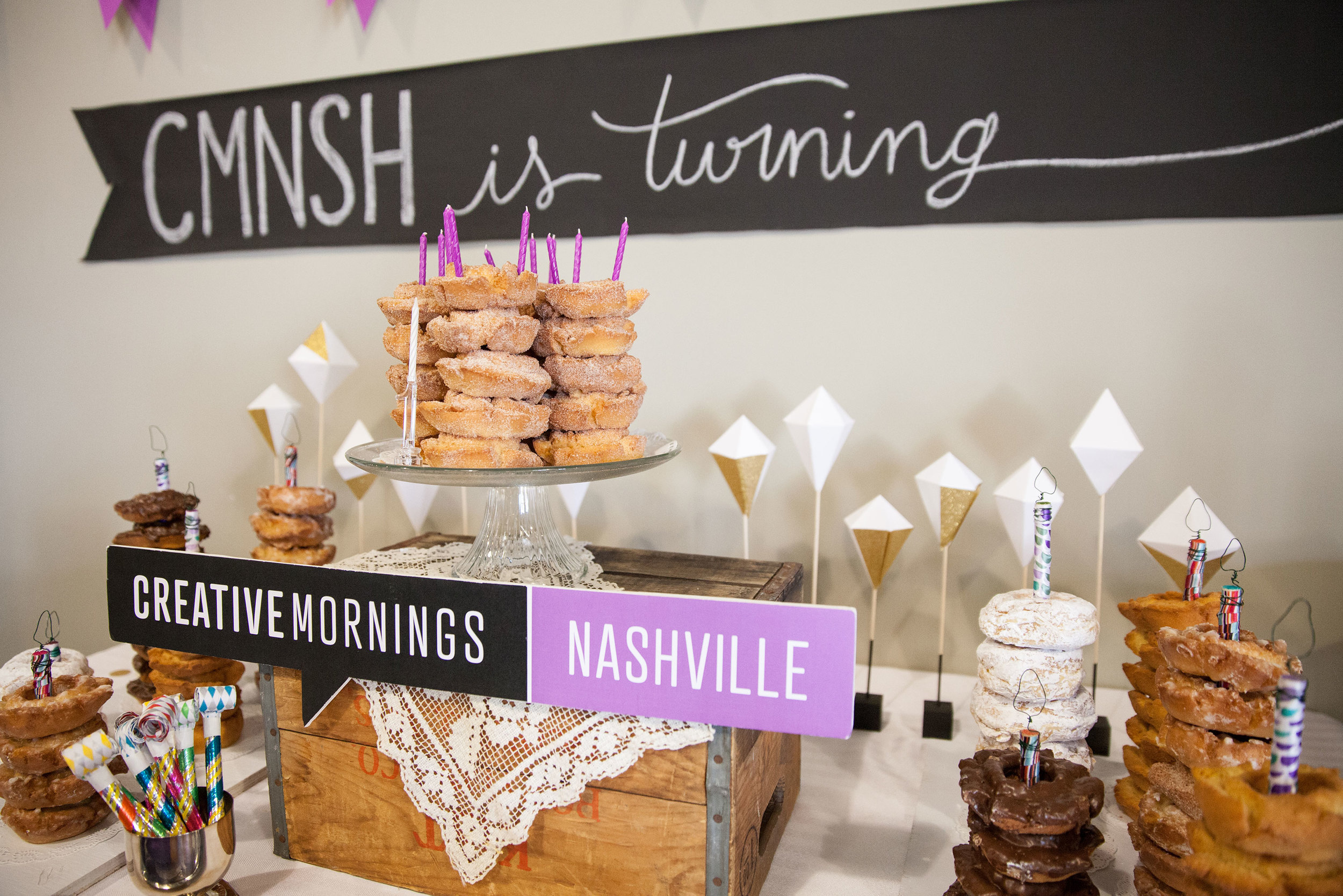 CreativeMornings breakfast + decor for our 1 yr Birthday Party at The Skillery! March 2015 | Theme: Ink | Photo credit: Michaela M. Powell
