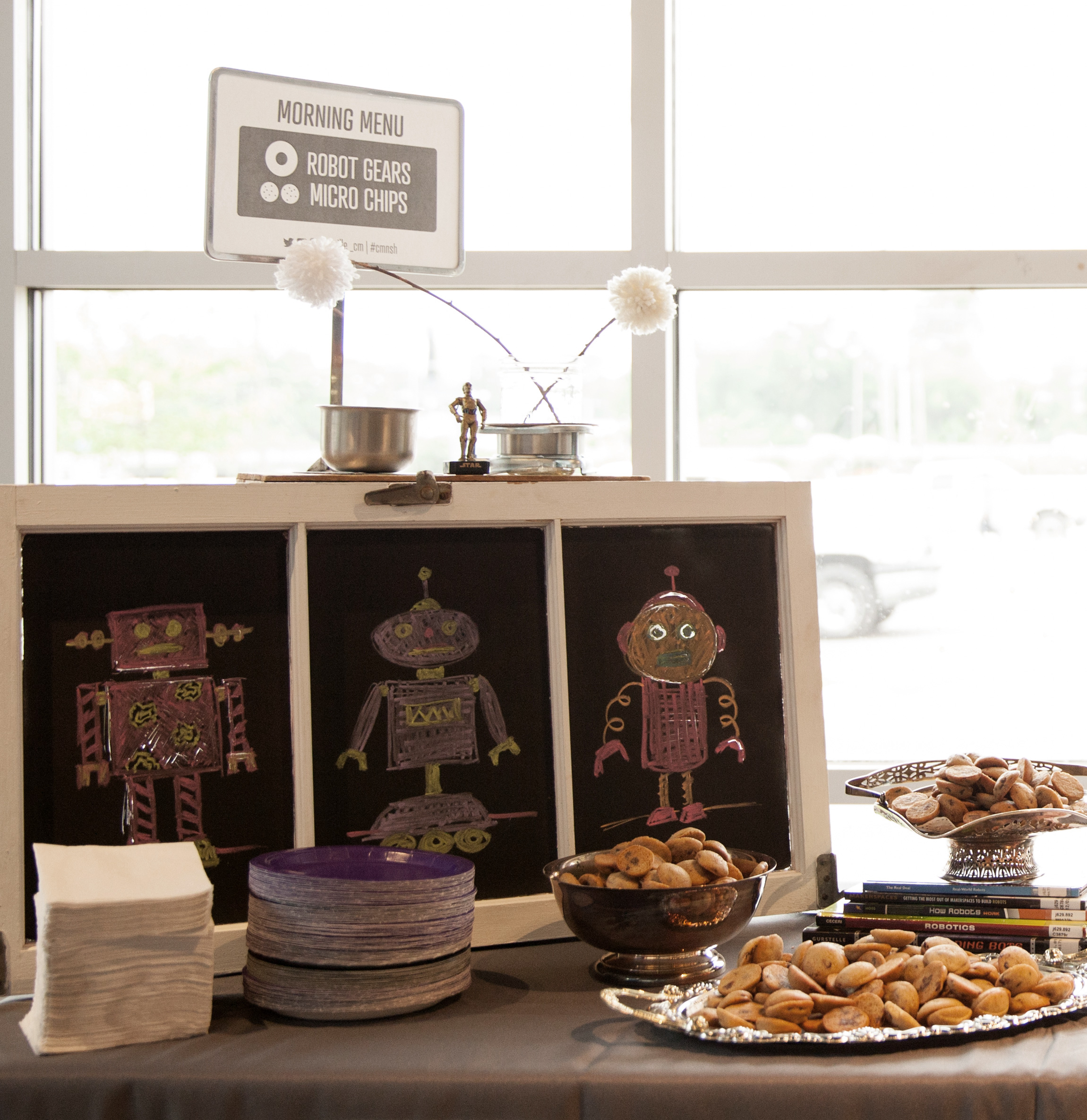 Breakfast + decor, robot style, for our monthly event. May 2015 | Theme: Robot | Photo credit: Michaela M. Powell