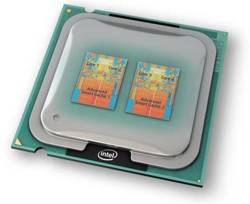 This is rendered Intel processor with 4 working cores...