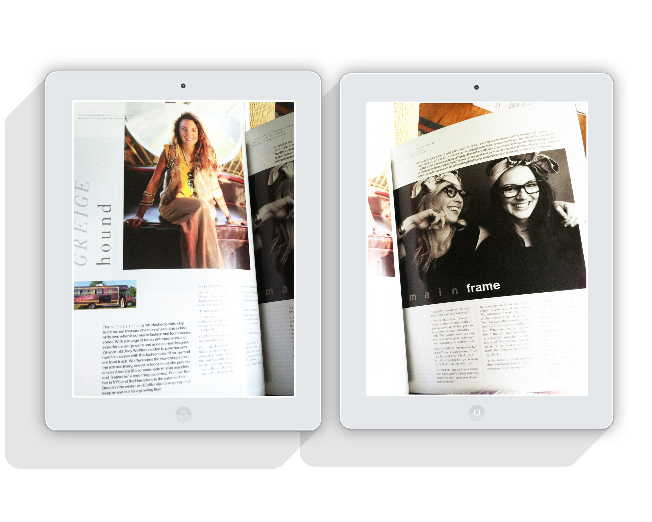 the Block magazine articles // the Styleliner + the Girls With Glasses