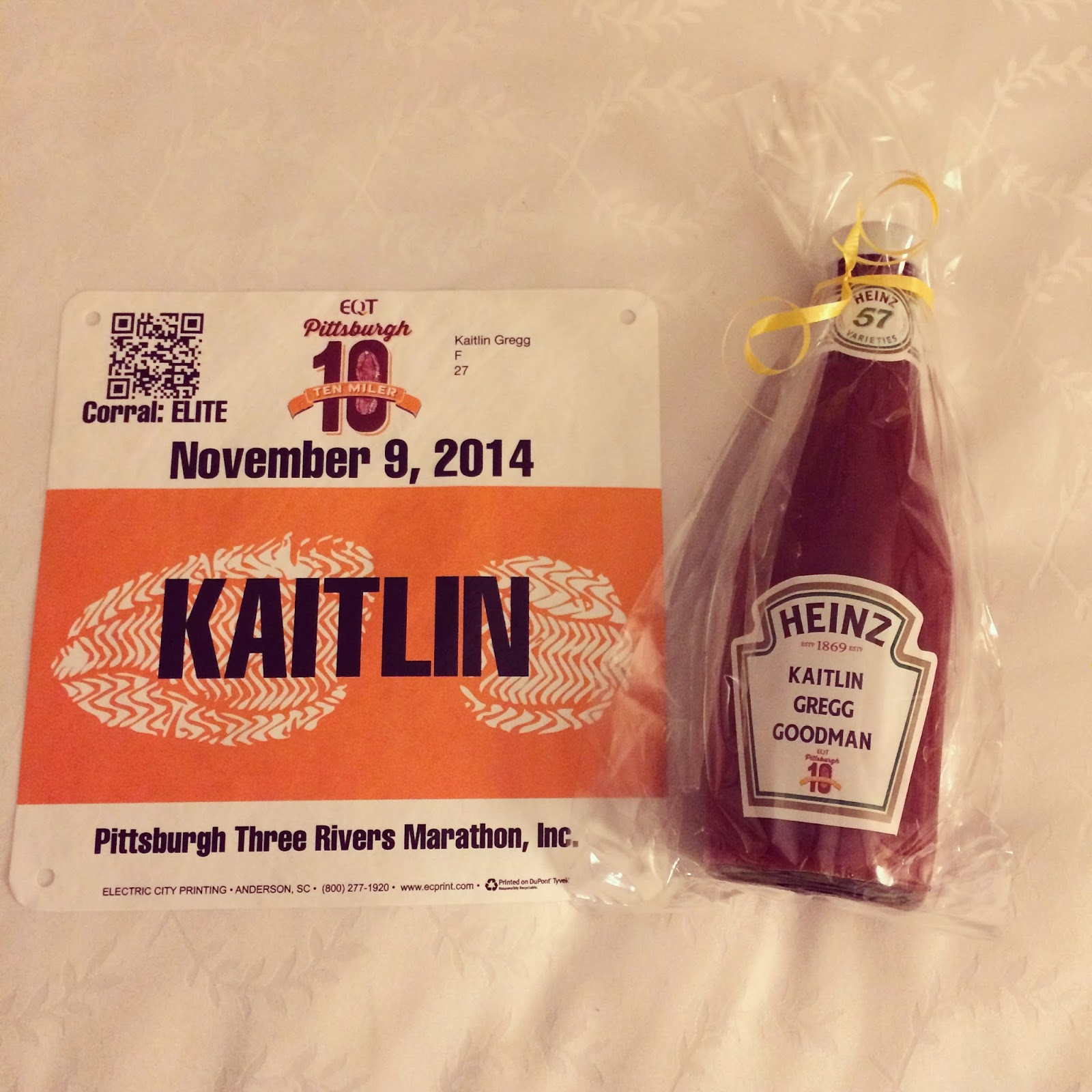Yes, this is a personalized ketchup bottle - awesome race gift from the PGH 10 Miler team!