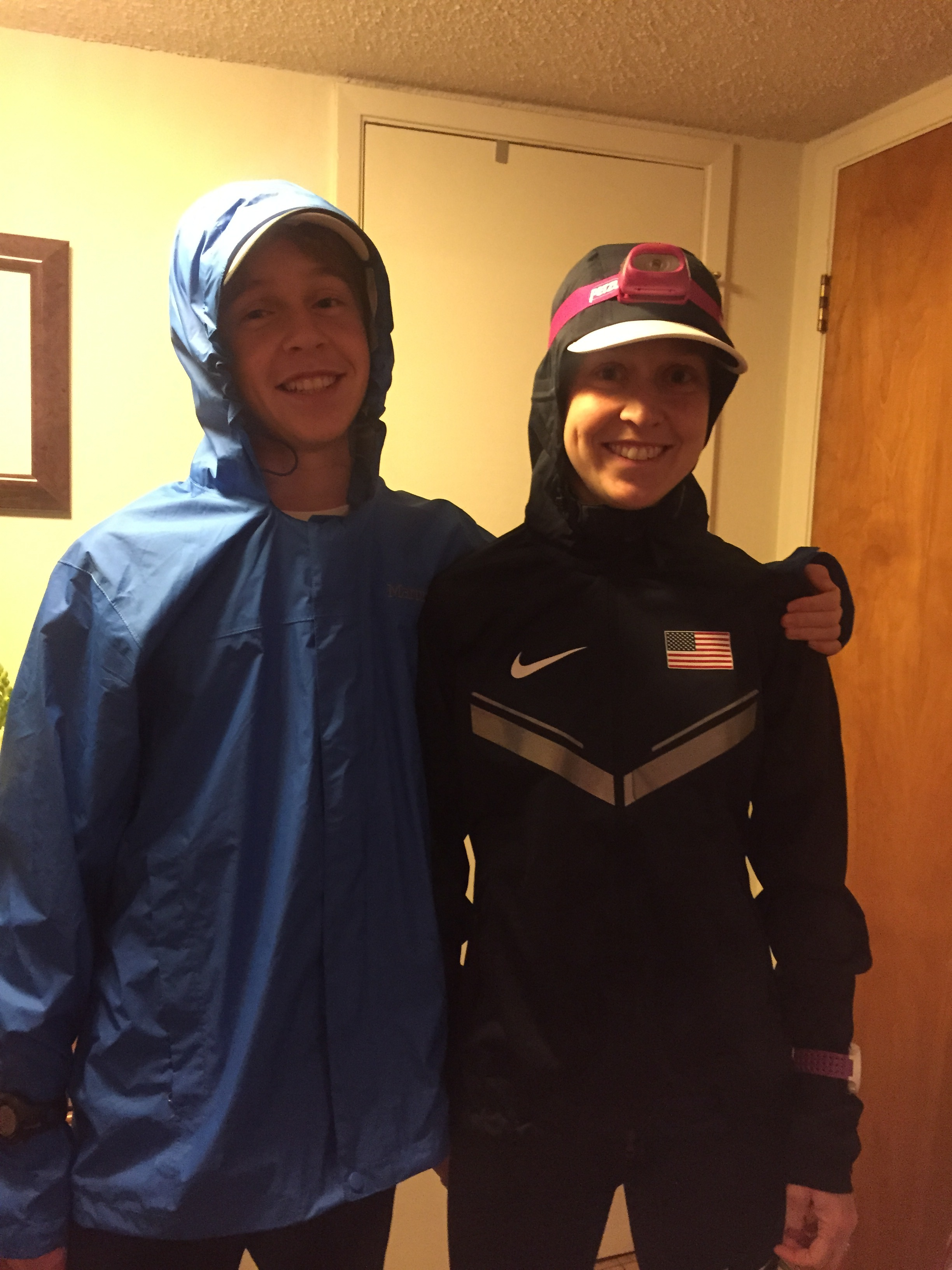 Getting out the door for a dark + rainy double with Bryce, my 15 year-old brother.