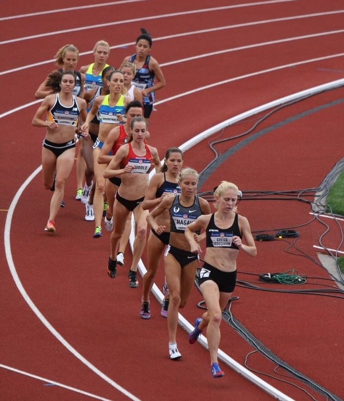 Leading the 5k prelims at the Trials for a few laps