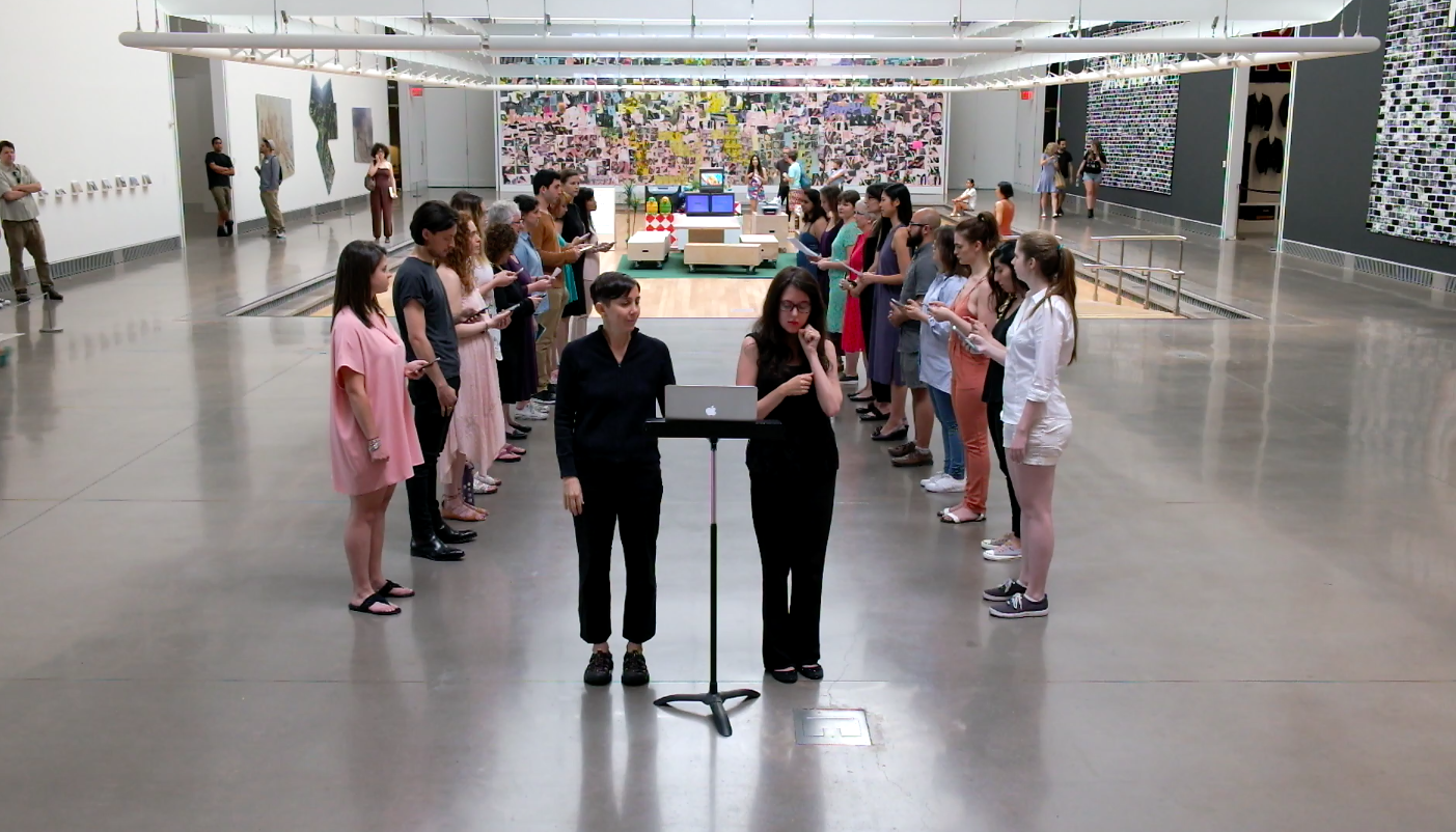 reading frequencies: omniscience , 2016  A hearing-accessible reading performance in the Queens Museum atrium draws connections between individual and collective memory through the frequency of word repetition.