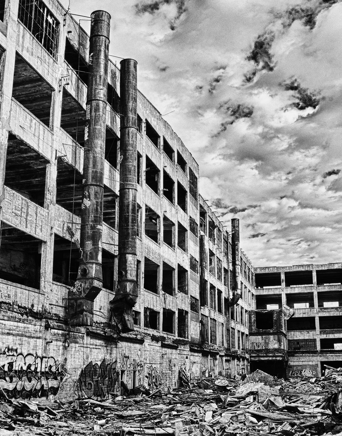 This is the outside of the Packard Plant in Detroit, MI. I made this image in February of 2012. This was when I was just starting out experimenting with HDR photography and I took the color HDR photograph to make it B&W. I will save my thoughts about HDR photography for another blog.