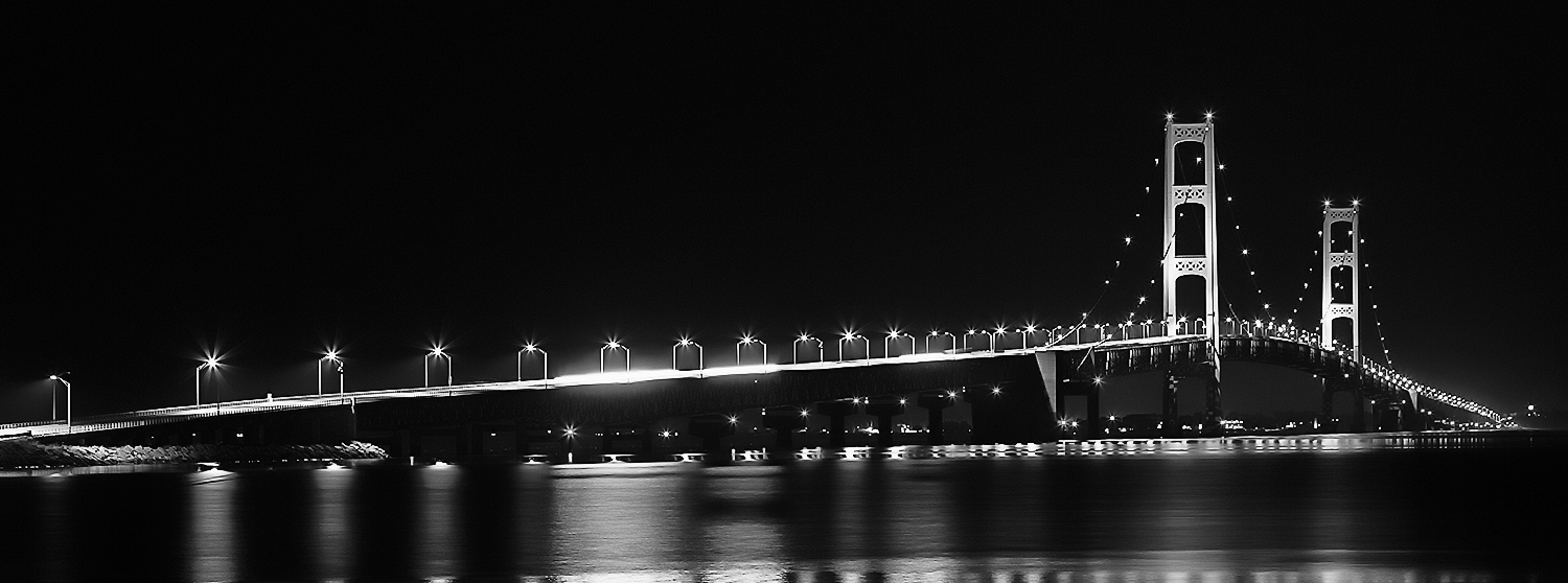 """Mackinac Bridge or some call it the """"Mighty Mac"""" taken from a park on the northwest side of the bridge."""