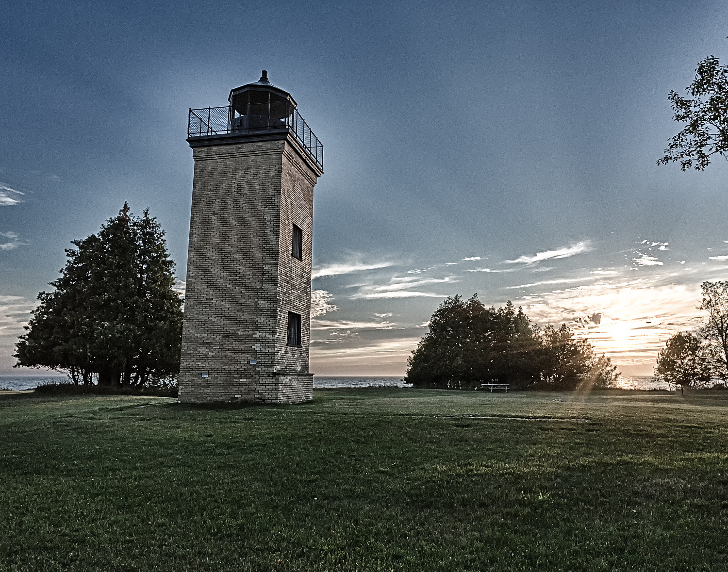 Sunset - Peninsula Point Light, MI  Yea, I got a little artistic with this one.