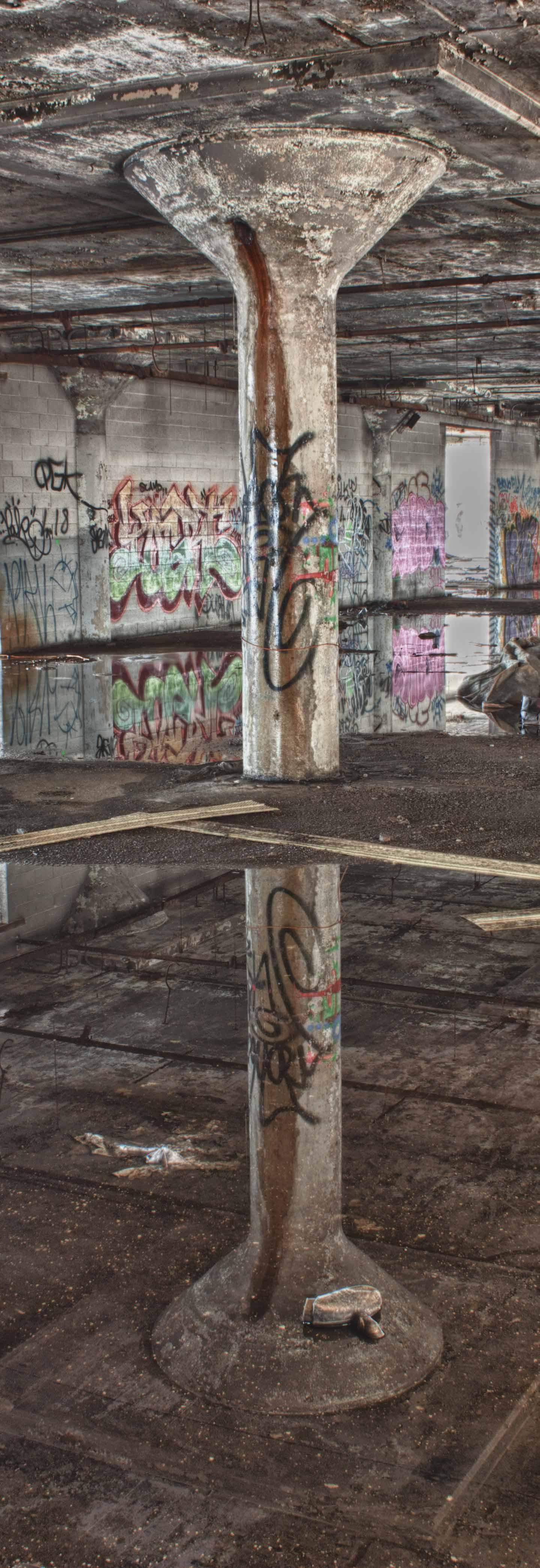 Reflection of a pillar.