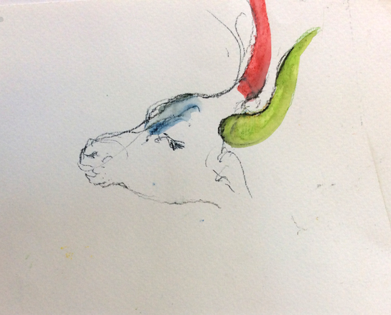 Red and green horns