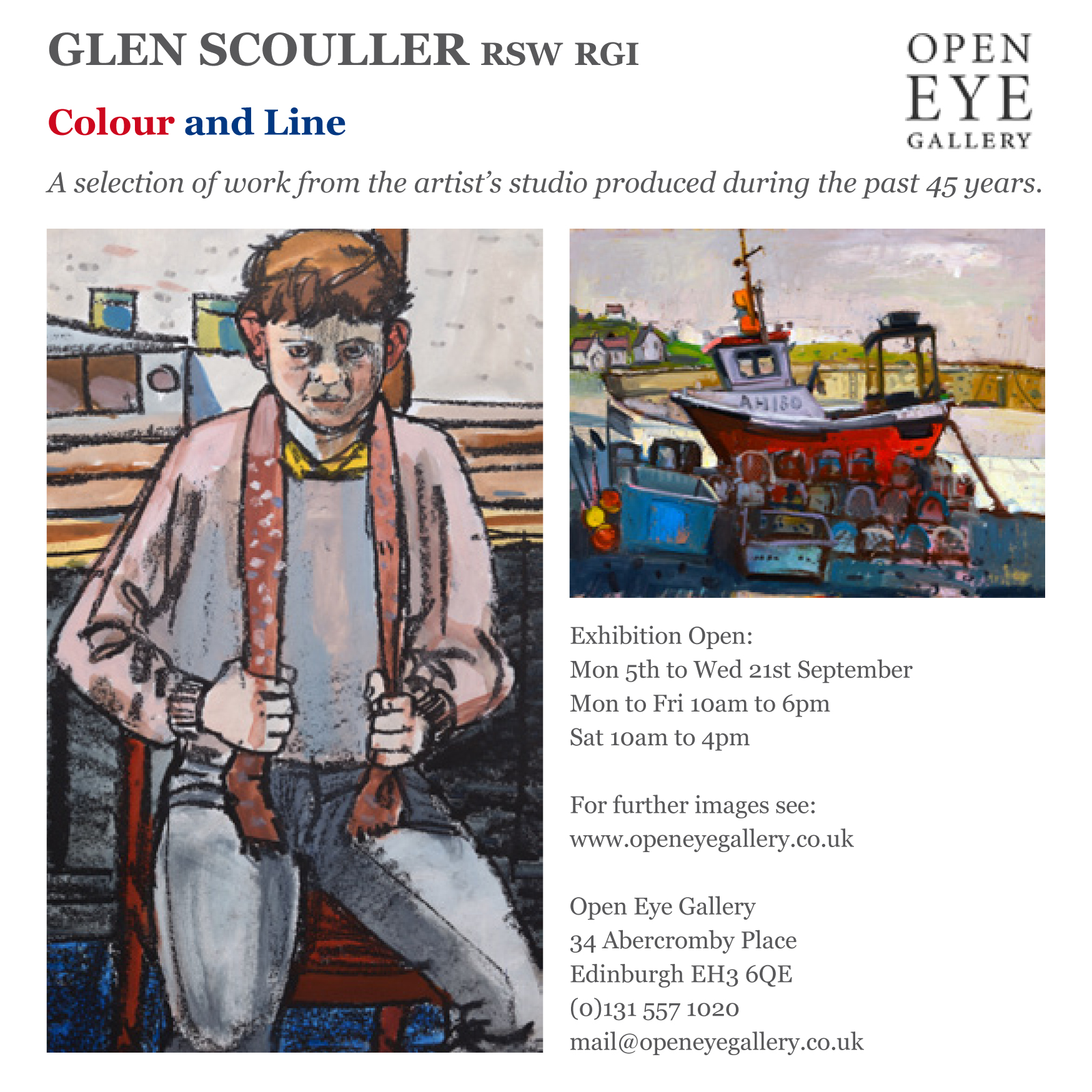 Colour and Line  showcases a selection of work from the artist's studio produced during the past 45 years. The exhibition will run from 5th to 21st September 2016 at the  Open Eye Gallery , Edinburgh.