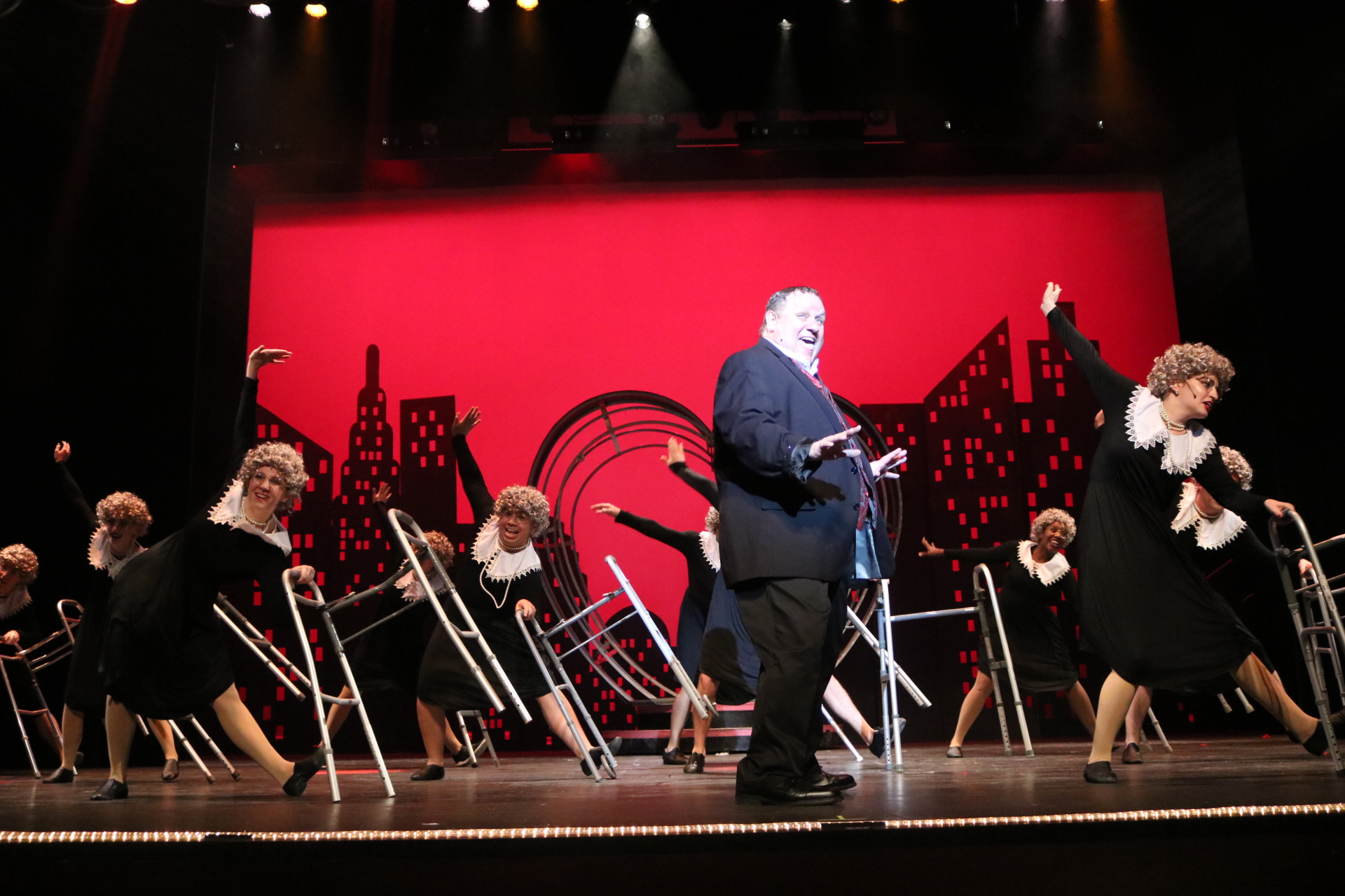 """""""Along Came Bialy"""" in  The Producers  (2nd from left, front row)"""
