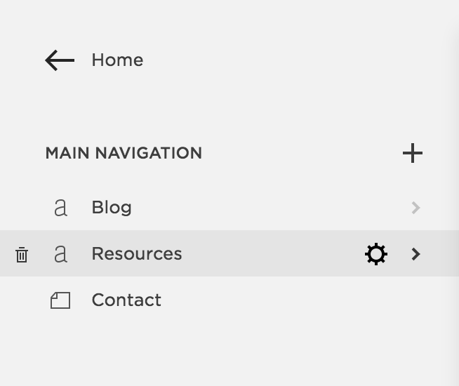 To edit an individual page, go to pages and then click the gear
