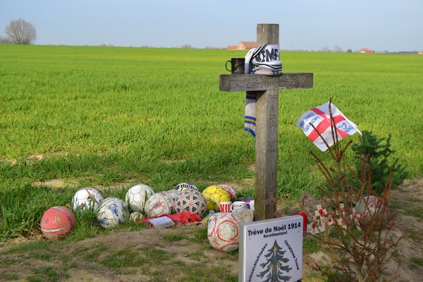 Memorial at the site of the Christmas Truce football match at Ypres.