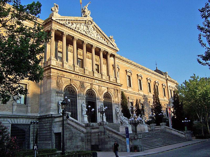 The grandiose exterior of the Biblioteca Nacional, Madrid. Photo courtesy Wikimedia Commons.