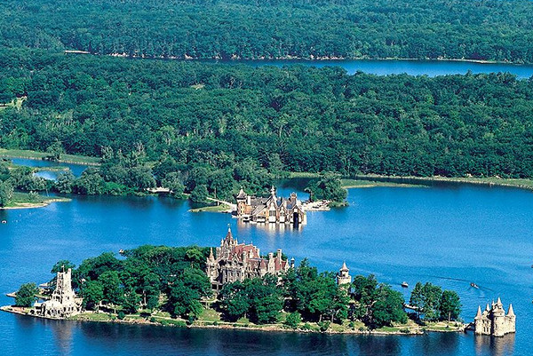 Aerial view of Boldt Castle.
