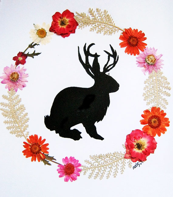 pressed flower jackelope art