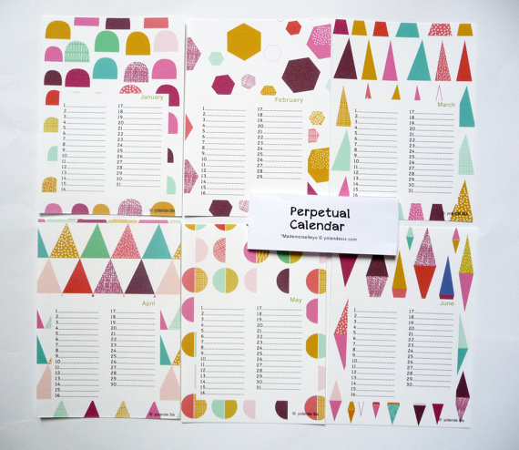 perpetual birthday calendar shapes