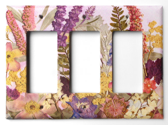 light switch plate pressed flower