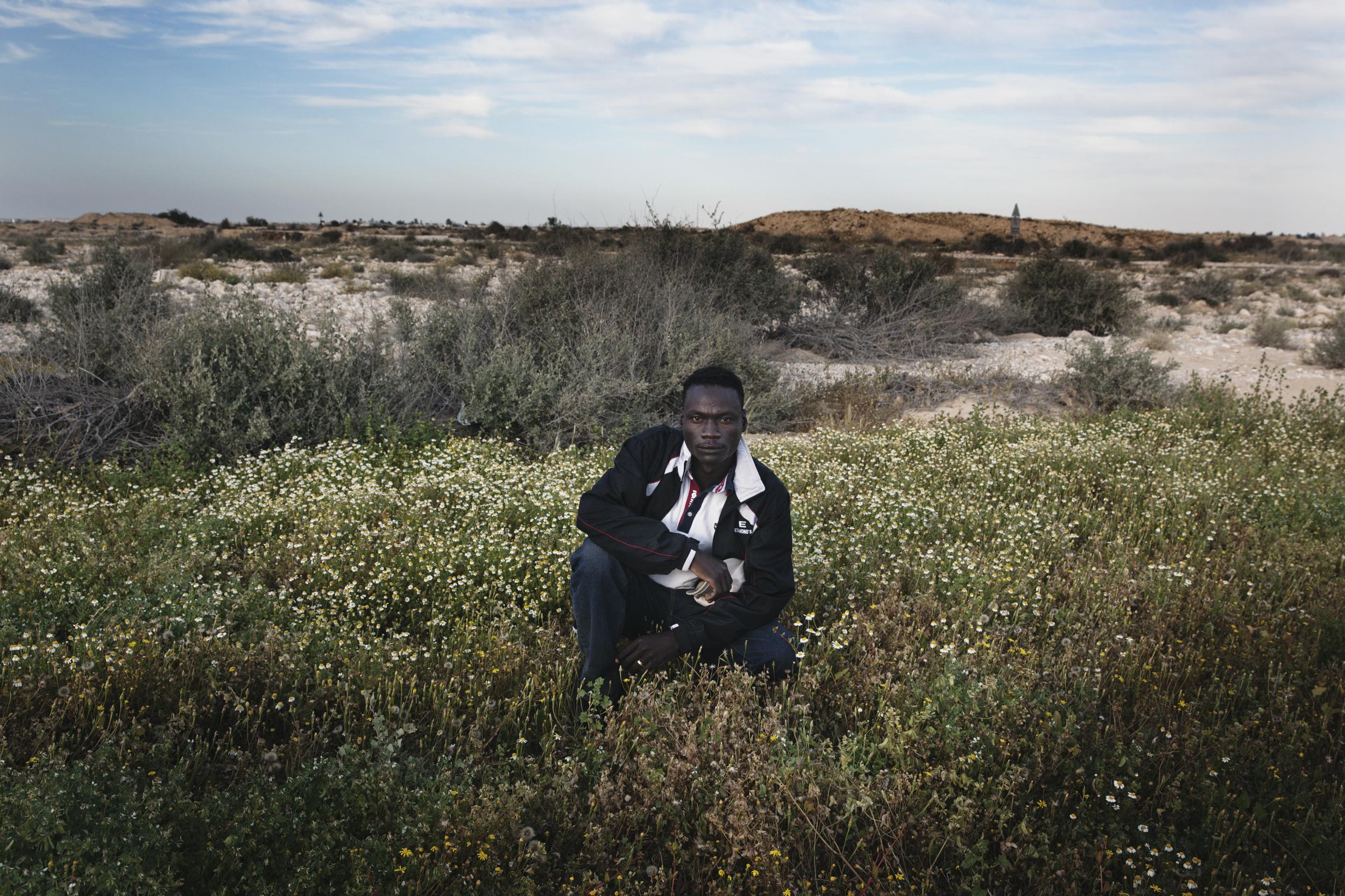 A Sudanese detainee outside of Holot detention center.