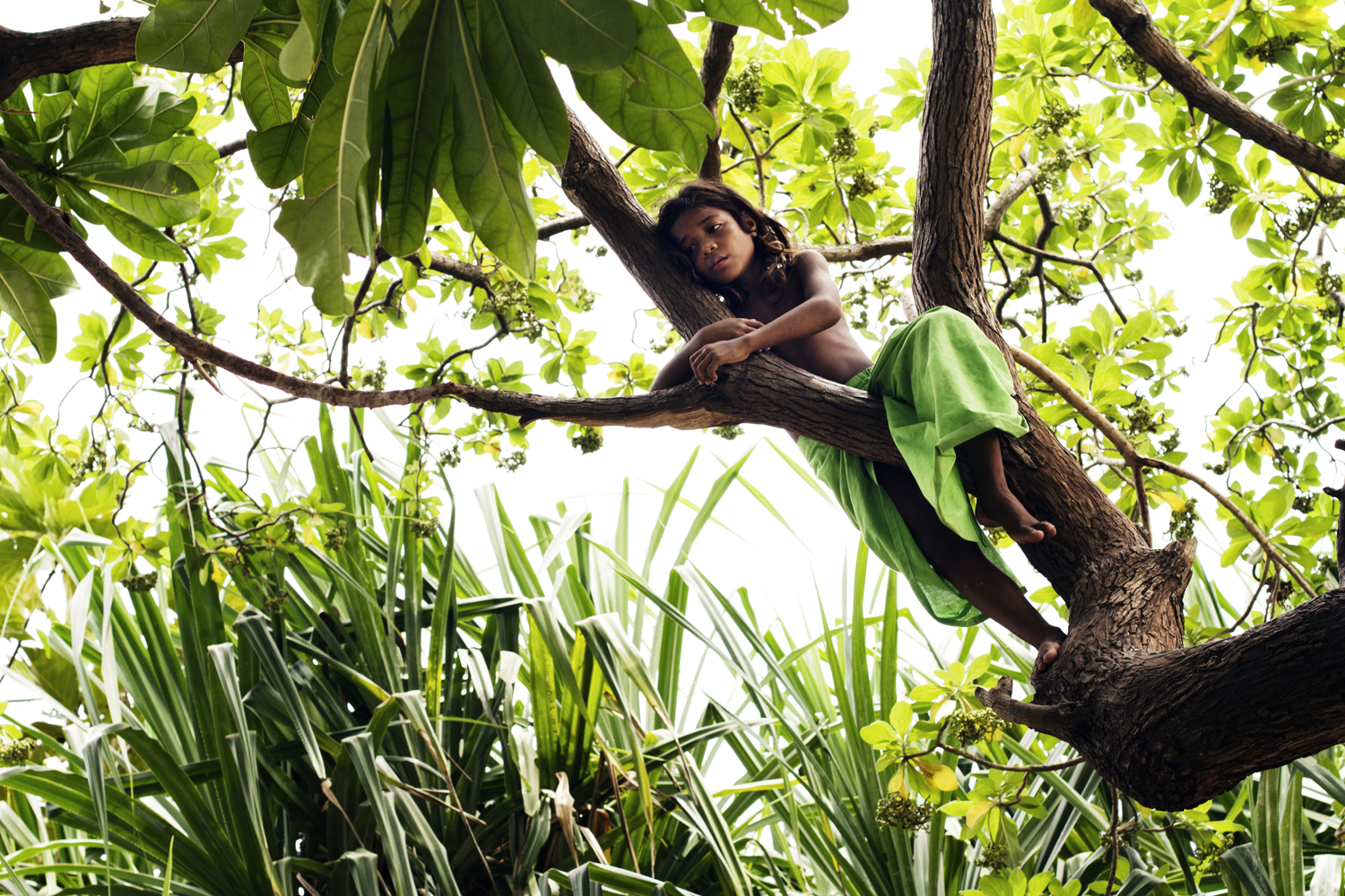 """Vanishing Nation"". A little girl playing in a tree on the island of Tarawa, Kiribati. 2010."