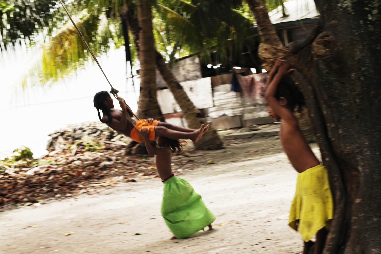 Children playing in Tarawa, Kiribati.2010.