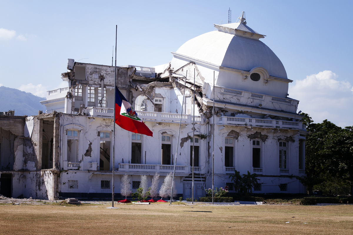 The National Palace that collapsed during the earthquake; 60% of all government building were destroyed. 2012.