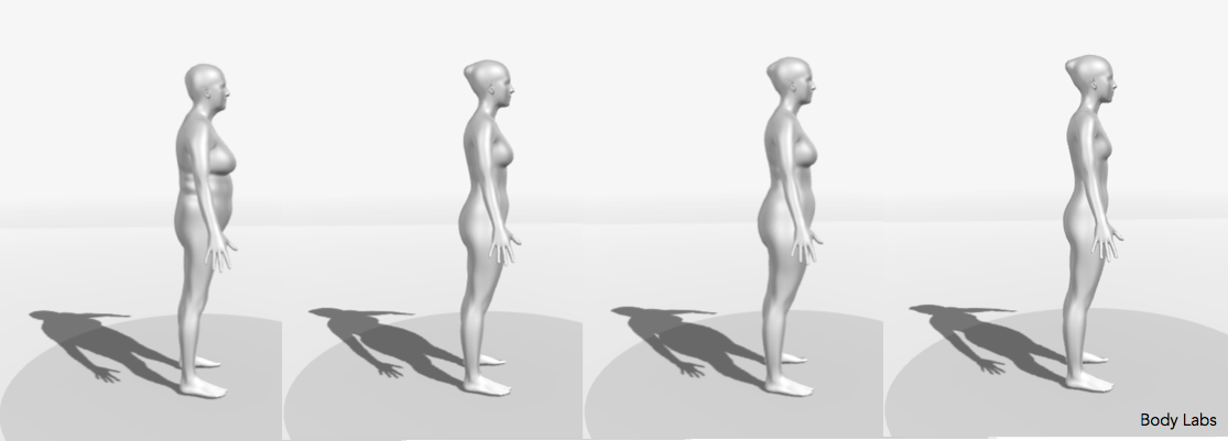 3D body shapes of individuals with the same weight and height (and BMI). The individual on the left has the highest health risks. Source of the 3D models: Body Labs.