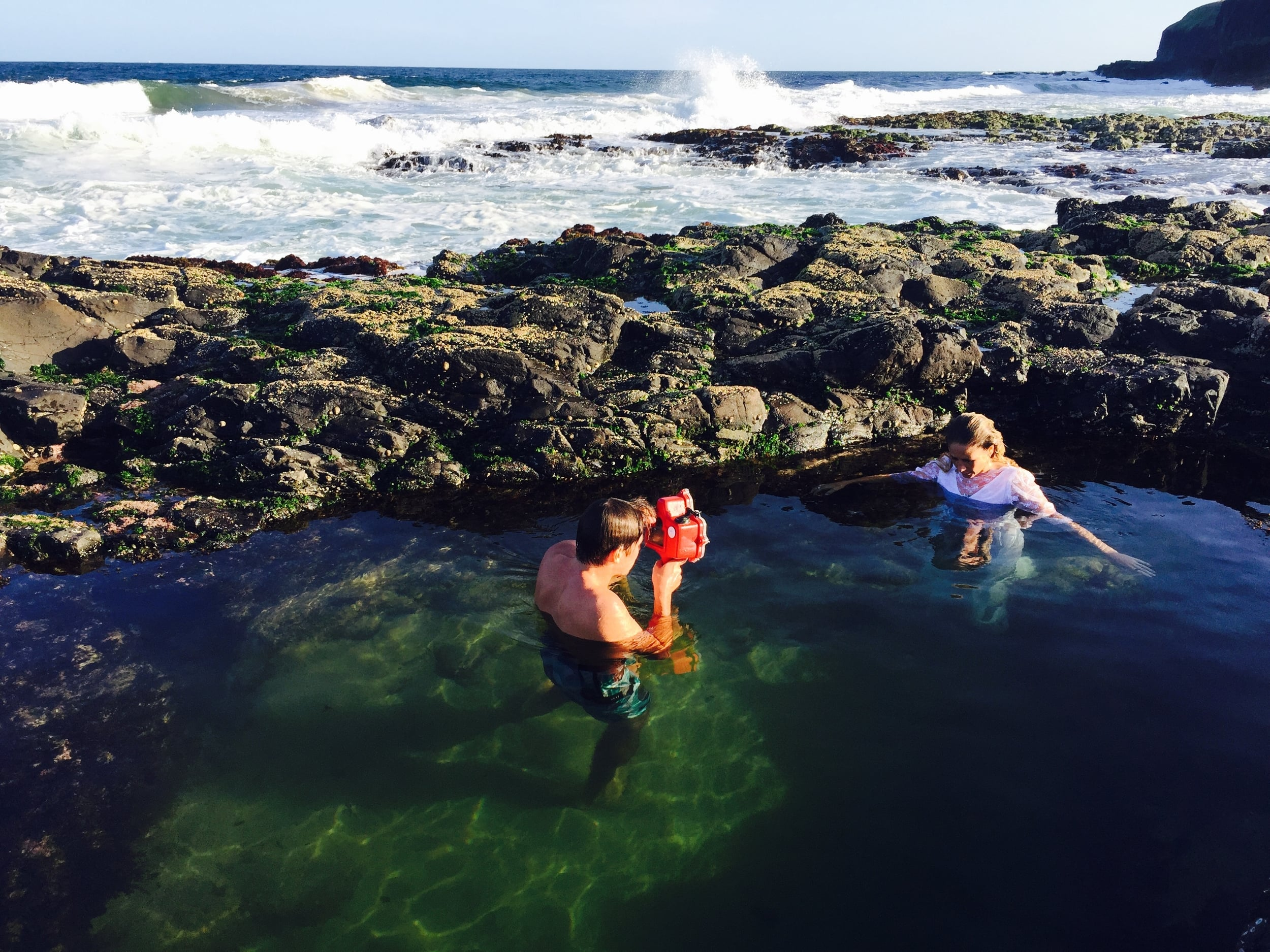 Shannon Mackie shooting Karlee in a beautiful rock pool on location.