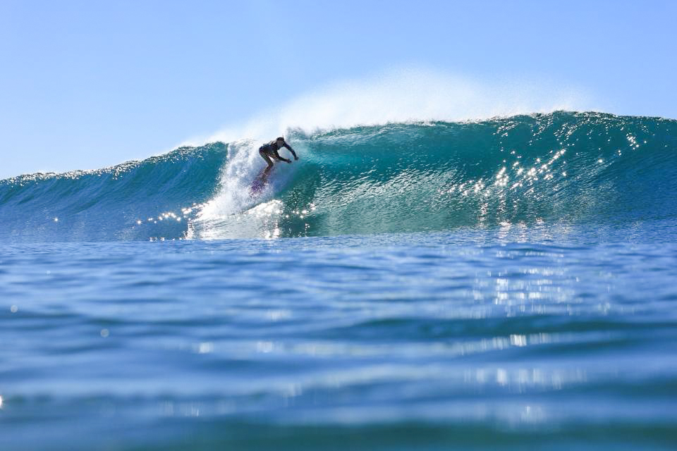 Angie surfing later in the year at Northwall, Ballina. Photo: Matt Tibbey.