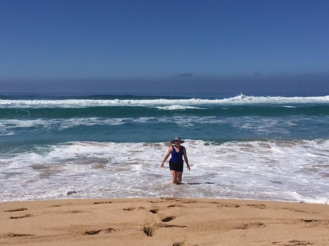 Suzy enjoying the sea, sun, & surf!