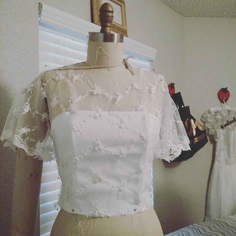 Gatsby Inspired Wedding Dress with custom changes.