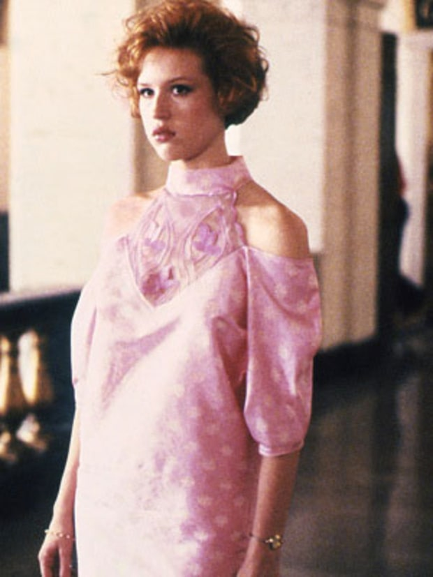 Her refurbished dress in Pretty in Pink for prom. Side note: Cold shoulder trend is very big again.