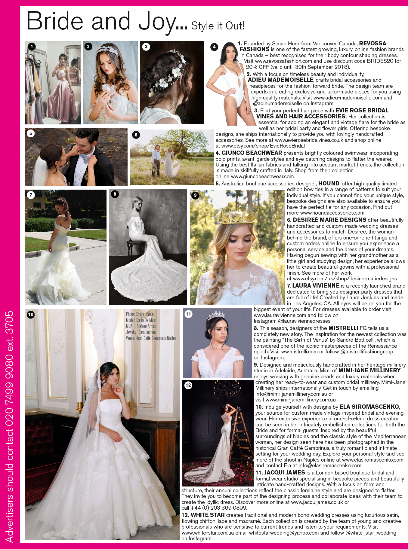 September/October 2018 BRIDES magazine on the Bride and Joy page, Suggestion #6  Featuring my  Michaela  dress