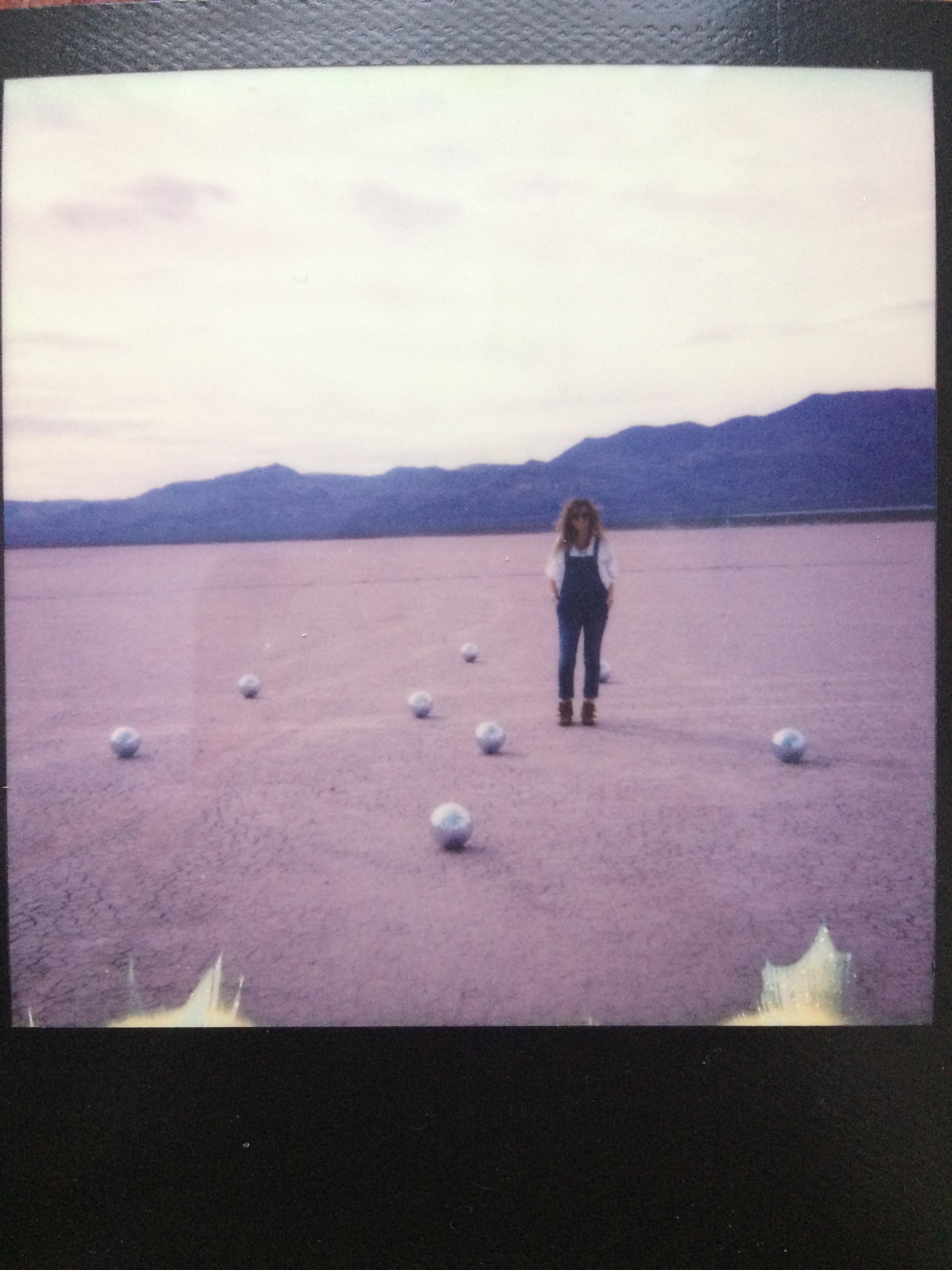 disco balls polaroid las vegas desert