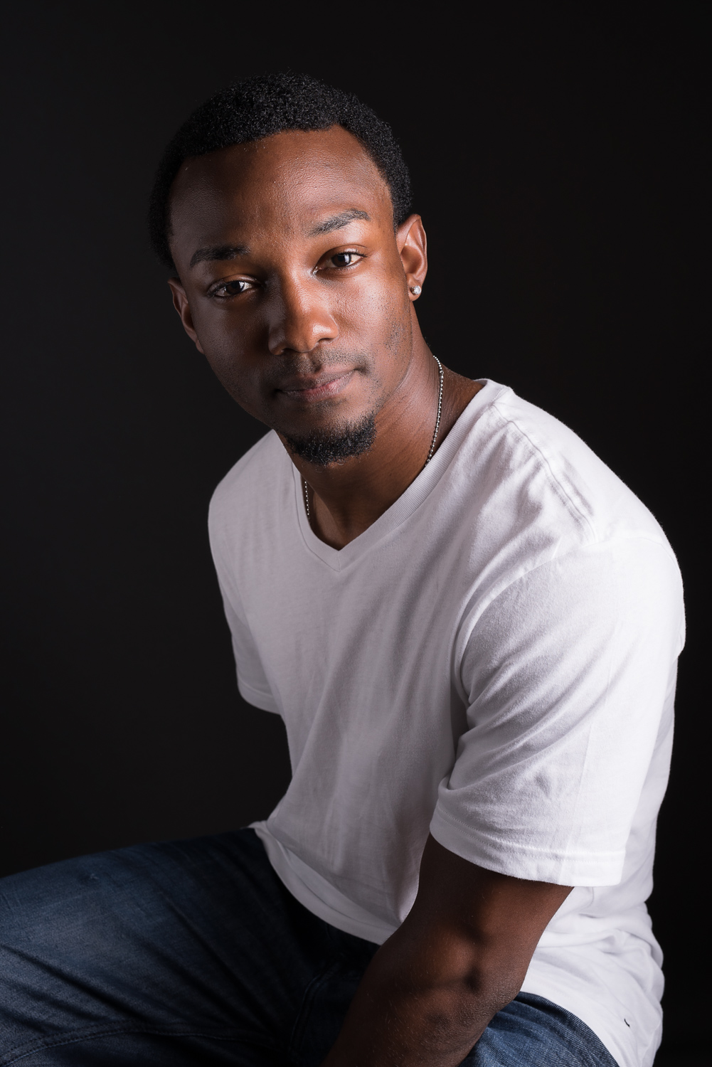 engaging portrait of african american male model with kind, expressive eyes