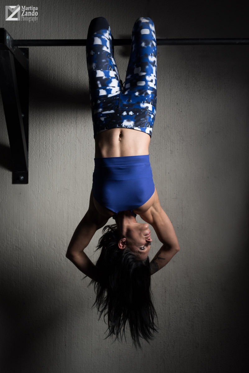 fitness hanging from pull up bar