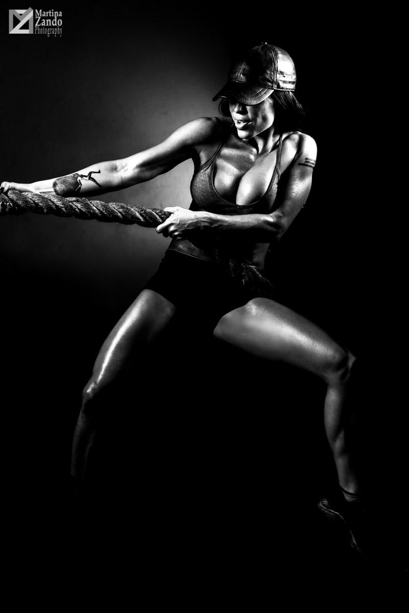 shiny edgy black and white fitness photo