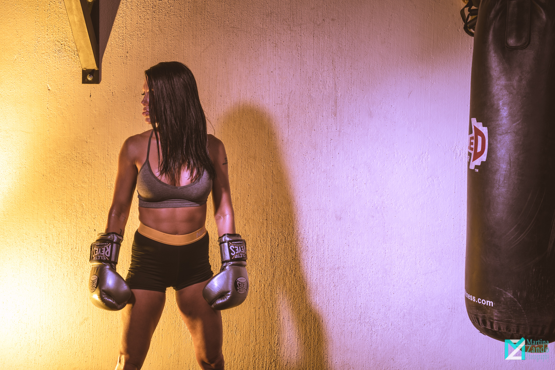 female boxer colorful photo