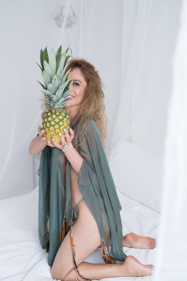 pineapple fruit prop in boudoir photo