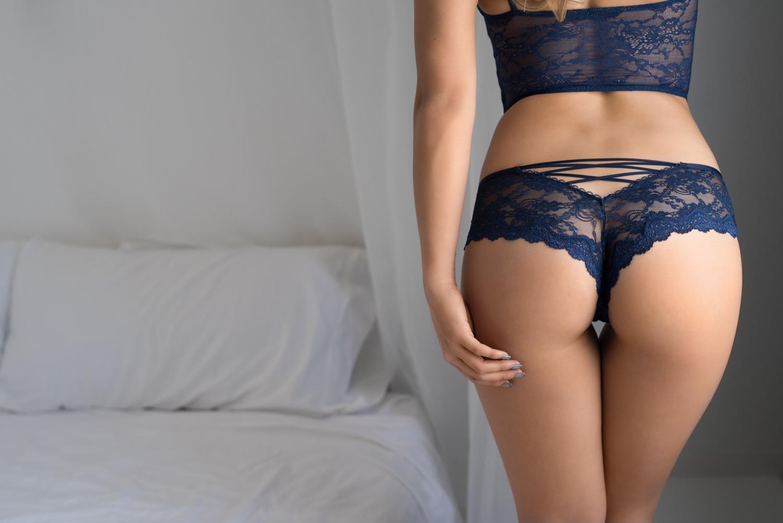 sensual seductive boudoir photo Victoria secret blue lingerie