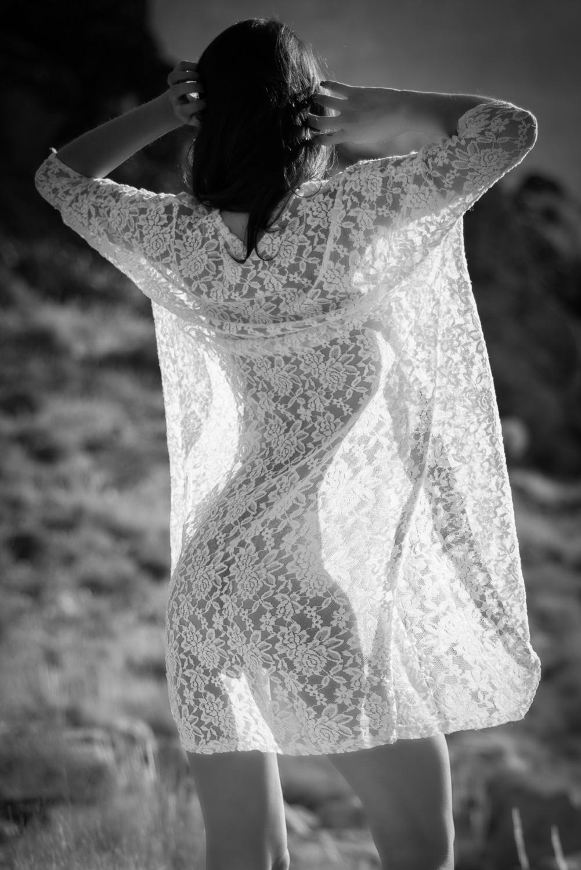 black and white bohemian boudoir photo lace top silhouette