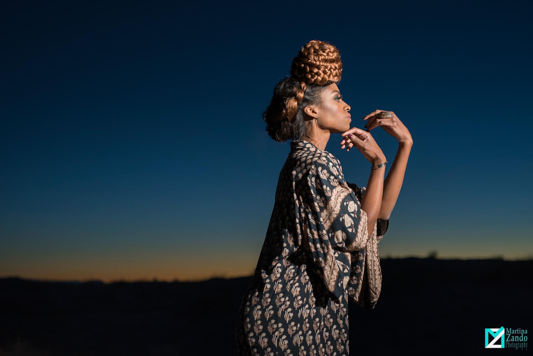 sunset desert fashion photo african american woman
