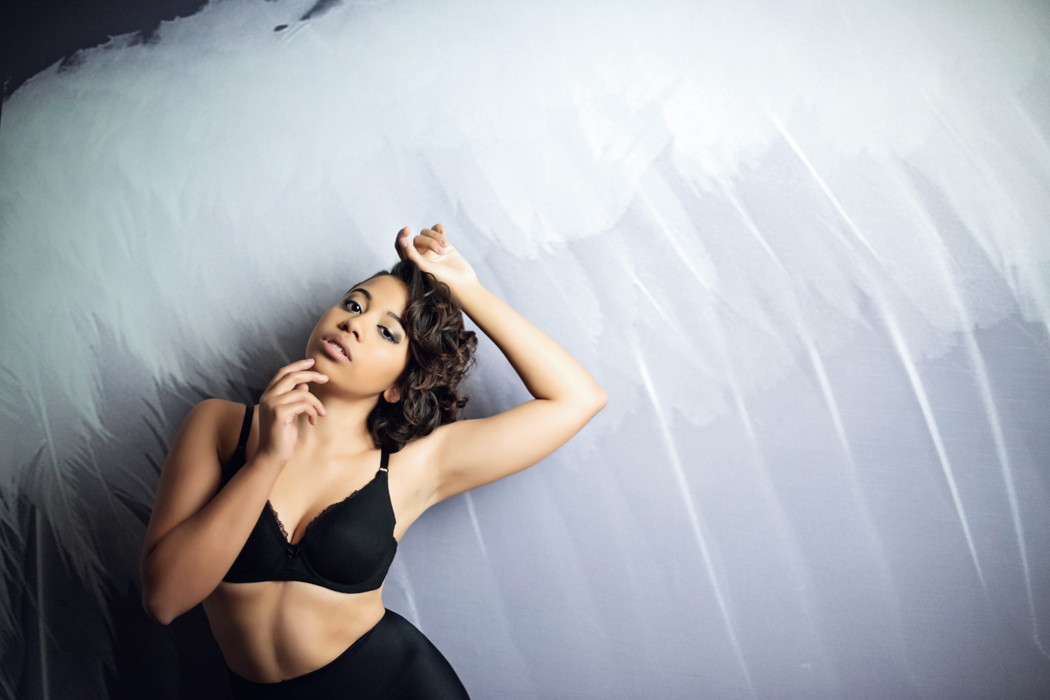 african american model with vintage lingerie